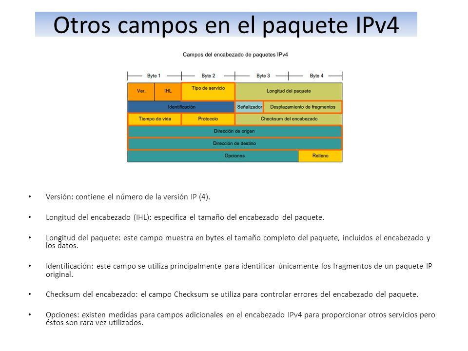 Otros campos en el paquete IPv4 Versión: contiene el número de la versión IP (4). Longitud del encabezado (IHL): especifica el tamaño del encabezado d