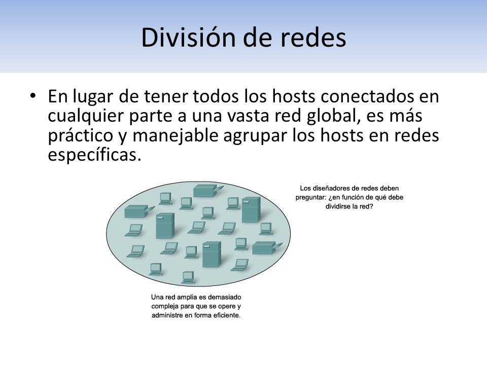 División de redes En lugar de tener todos los hosts conectados en cualquier parte a una vasta red global, es más práctico y manejable agrupar los host