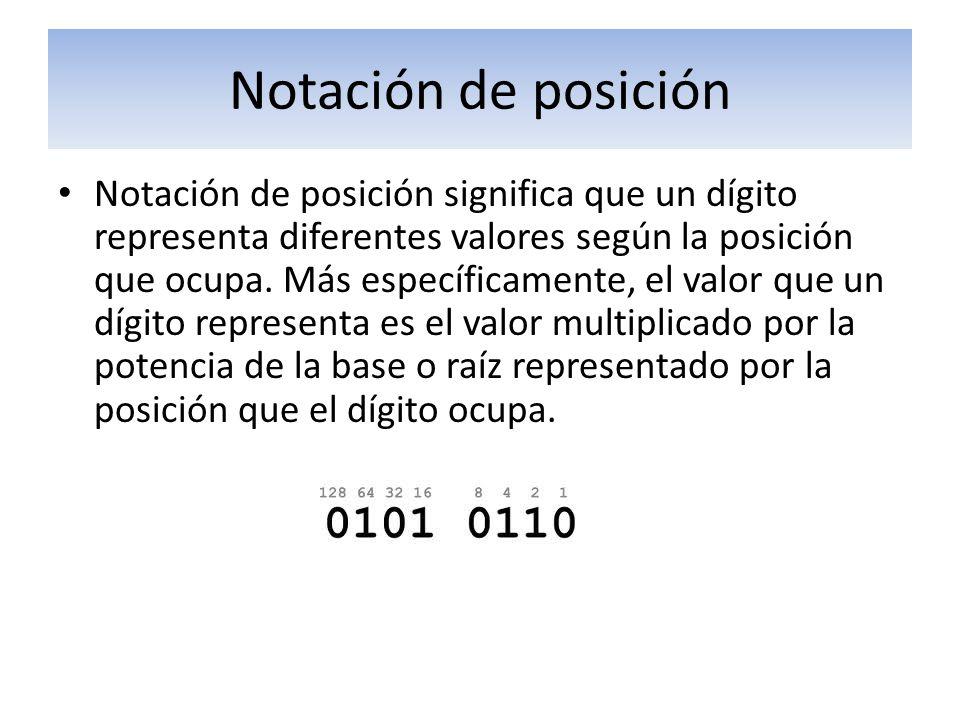 Notación de posición Notación de posición significa que un dígito representa diferentes valores según la posición que ocupa. Más específicamente, el v