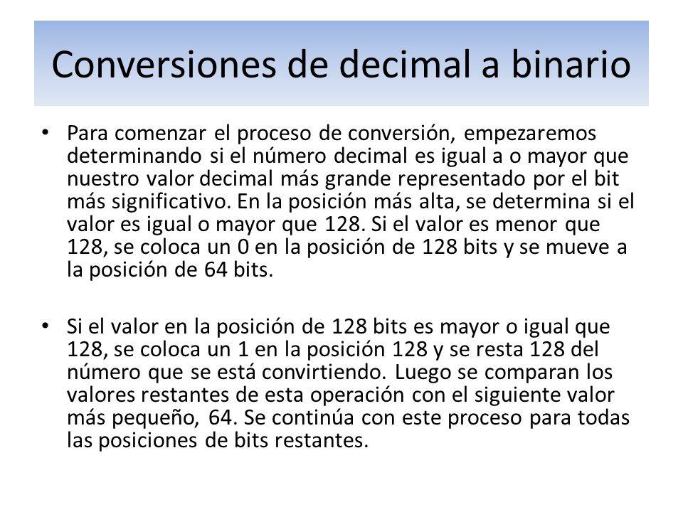 Conversiones de decimal a binario Para comenzar el proceso de conversión, empezaremos determinando si el número decimal es igual a o mayor que nuestro