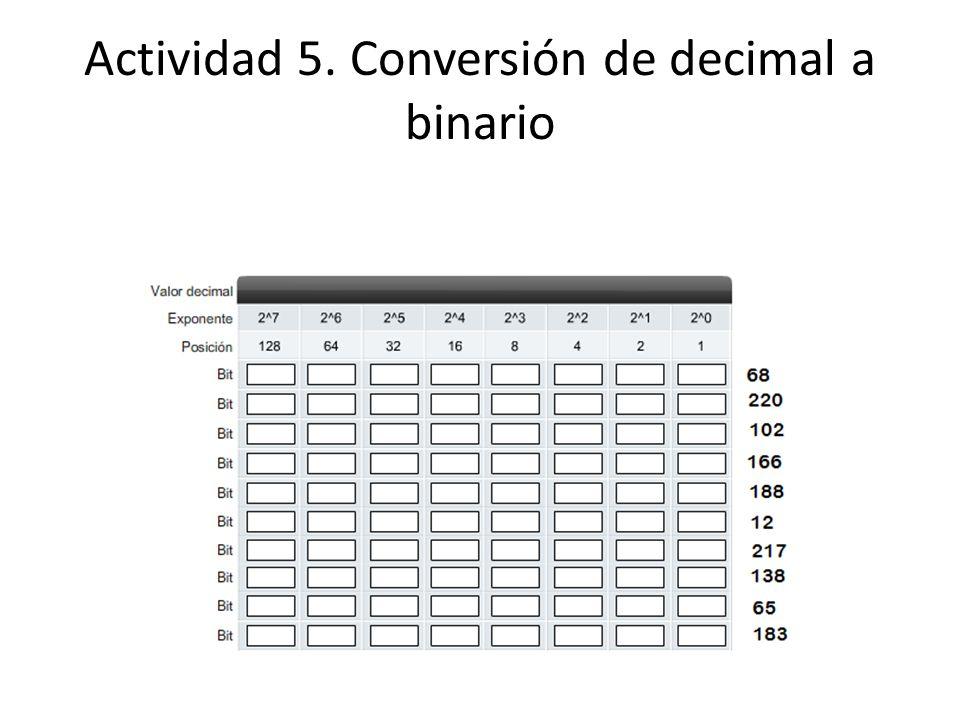 Actividad 5. Conversión de decimal a binario