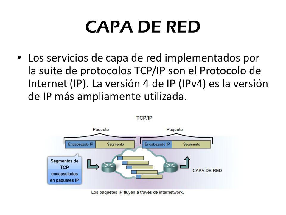CAPA DE RED Los servicios de capa de red implementados por la suite de protocolos TCP/IP son el Protocolo de Internet (IP). La versión 4 de IP (IPv4)