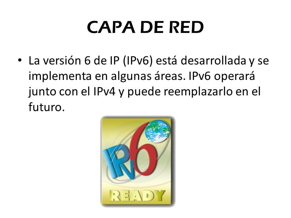 La versión 6 de IP (IPv6) está desarrollada y se implementa en algunas áreas. IPv6 operará junto con el IPv4 y puede reemplazarlo en el futuro. CAPA D
