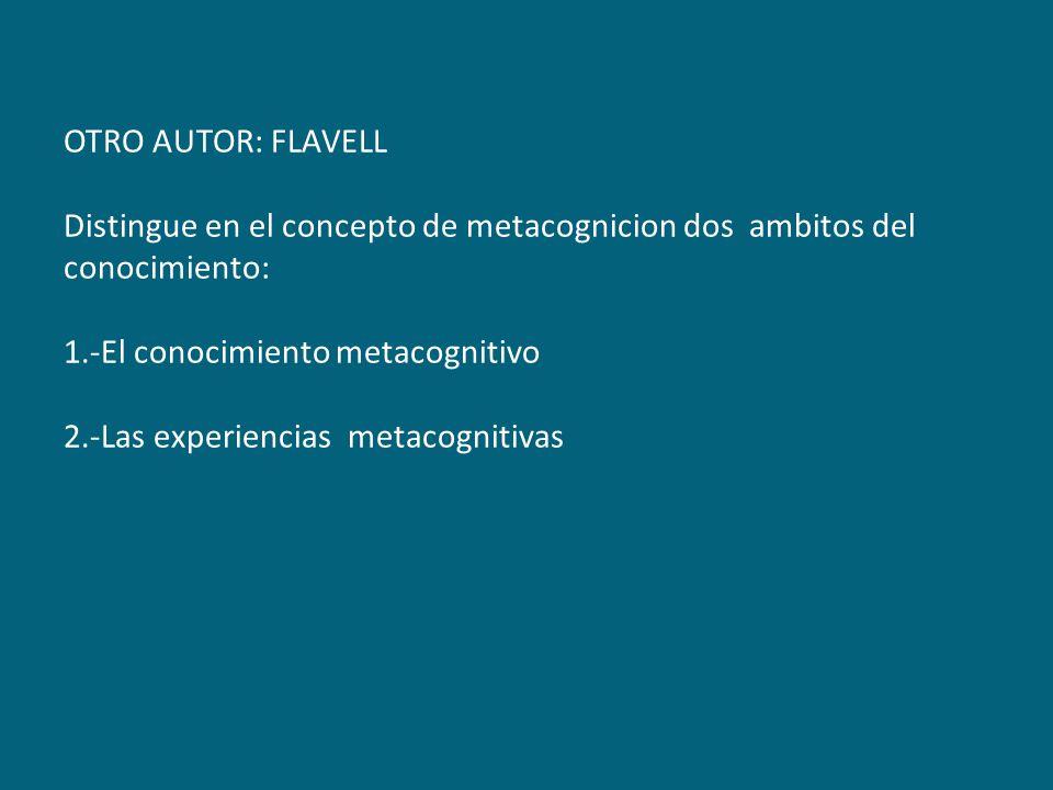 OTRO AUTOR: FLAVELL Distingue en el concepto de metacognicion dos ambitos del conocimiento: 1.-El conocimiento metacognitivo 2.-Las experiencias metac