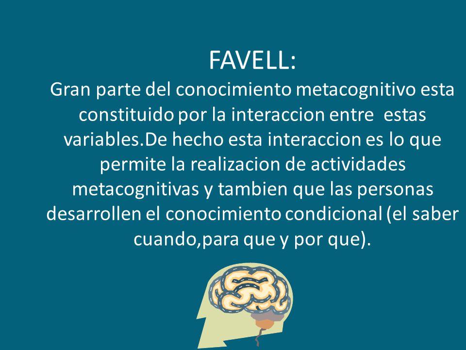 FAVELL: Gran parte del conocimiento metacognitivo esta constituido por la interaccion entre estas variables.De hecho esta interaccion es lo que permit