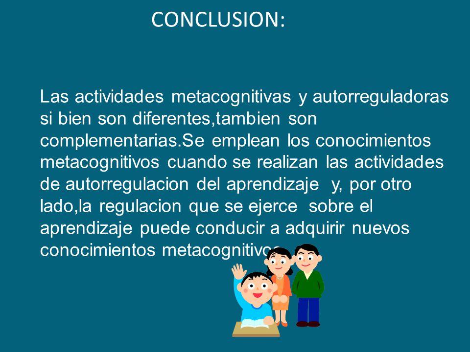 CONCLUSION: Las actividades metacognitivas y autorreguladoras si bien son diferentes,tambien son complementarias.Se emplean los conocimientos metacogn