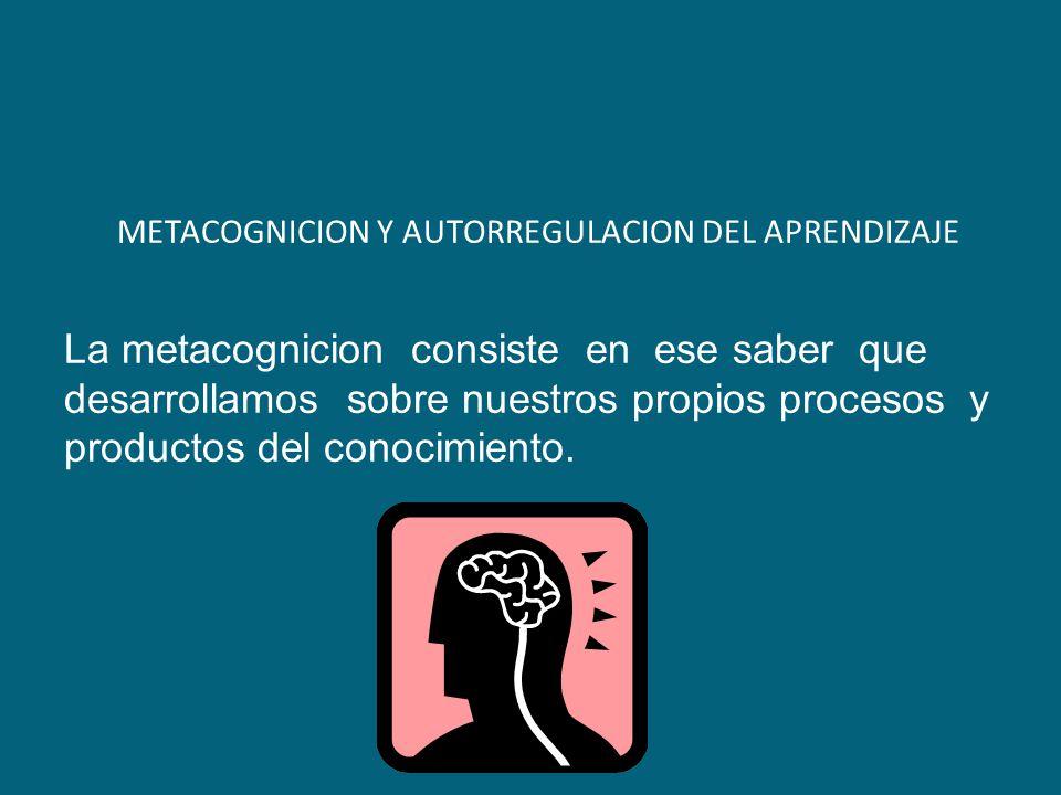 METACOGNICION Y AUTORREGULACION DEL APRENDIZAJE La metacognicion consiste en ese saber que desarrollamos sobre nuestros propios procesos y productos d