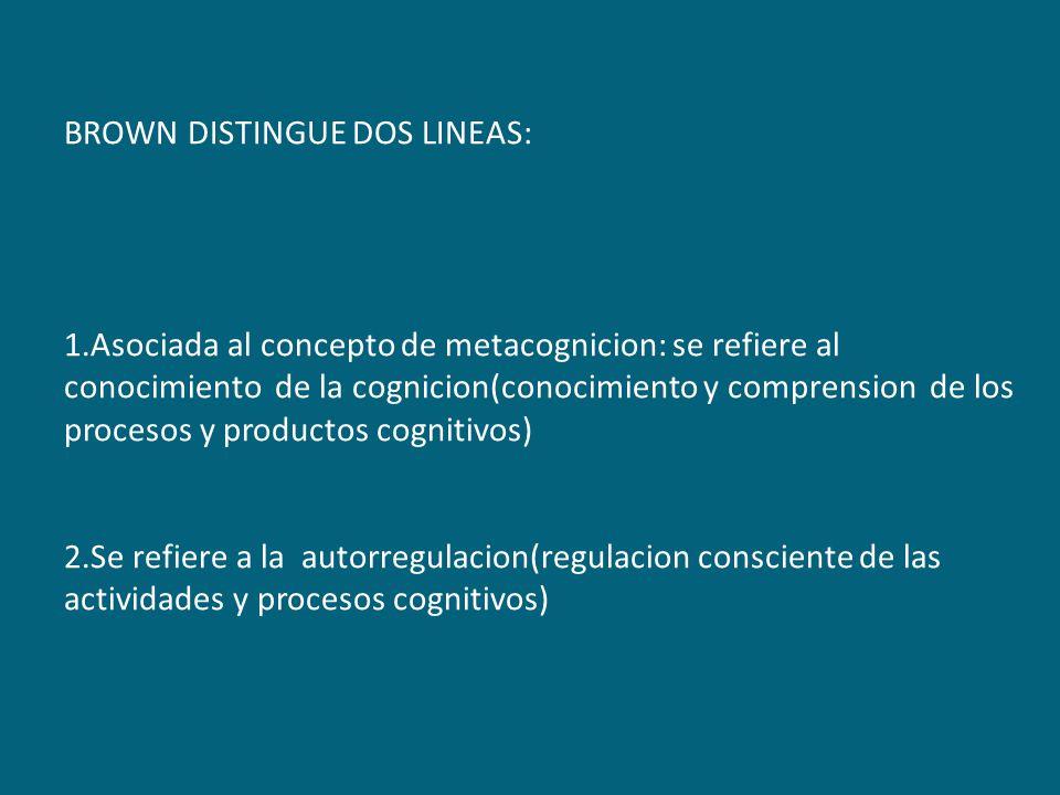 BROWN DISTINGUE DOS LINEAS: 1.Asociada al concepto de metacognicion: se refiere al conocimiento de la cognicion(conocimiento y comprension de los proc
