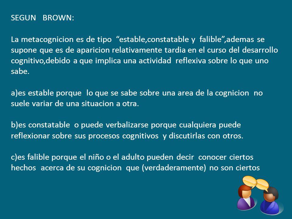 SEGUN BROWN: La metacognicion es de tipo estable,constatable y falible,ademas se supone que es de aparicion relativamente tardia en el curso del desar