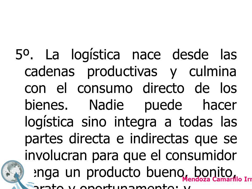 5º.La logística nace desde las cadenas productivas y culmina con el consumo directo de los bienes.