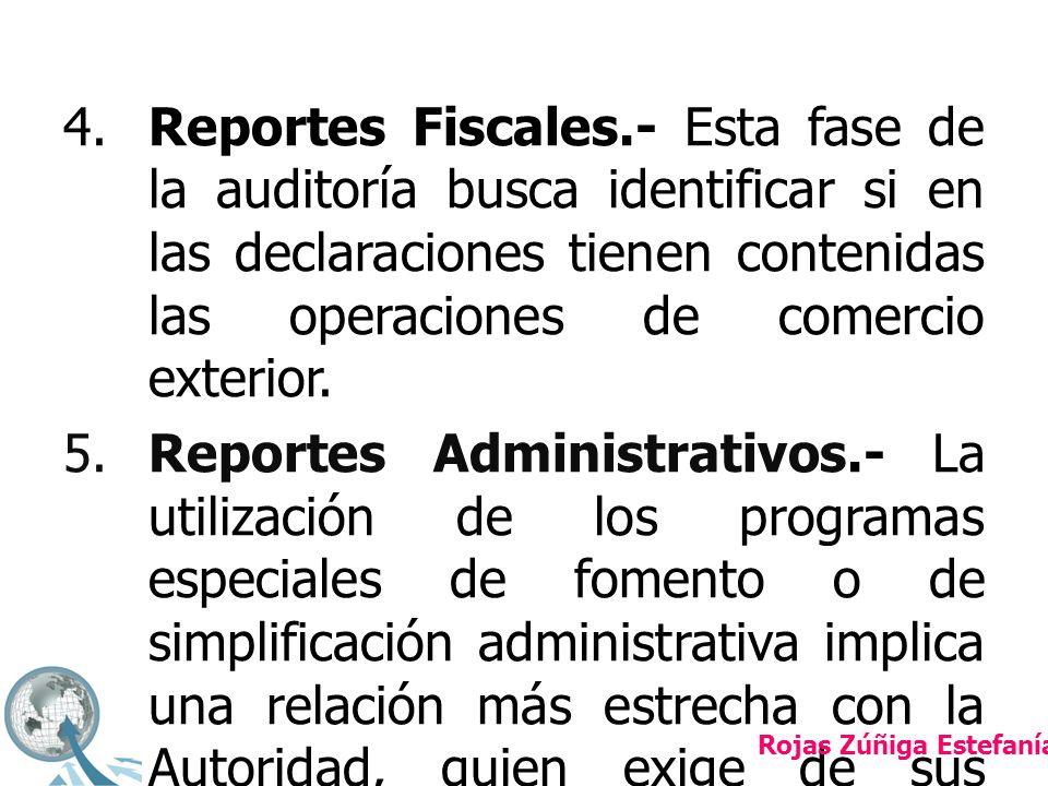 4.Reportes Fiscales.- Esta fase de la auditoría busca identificar si en las declaraciones tienen contenidas las operaciones de comercio exterior.