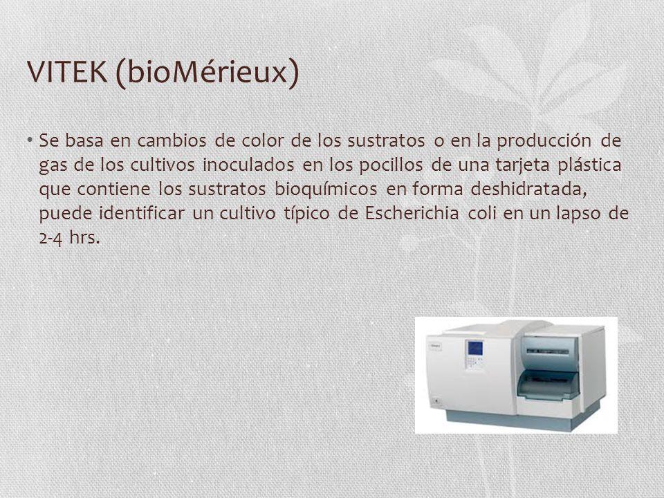 VITEK (bioMérieux) Se basa en cambios de color de los sustratos o en la producción de gas de los cultivos inoculados en los pocillos de una tarjeta plástica que contiene los sustratos bioquímicos en forma deshidratada, puede identificar un cultivo típico de Escherichia coli en un lapso de 2-4 hrs.