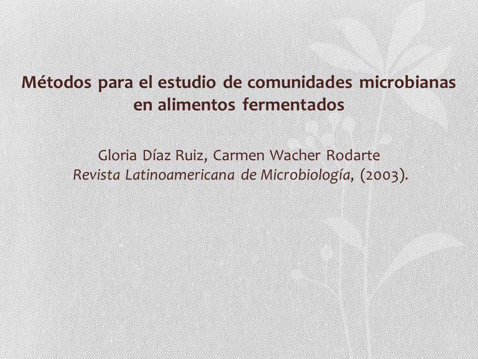 Métodos para el estudio de comunidades microbianas en alimentos fermentados Gloria Díaz Ruiz, Carmen Wacher Rodarte Revista Latinoamericana de Microbiología, (2003).