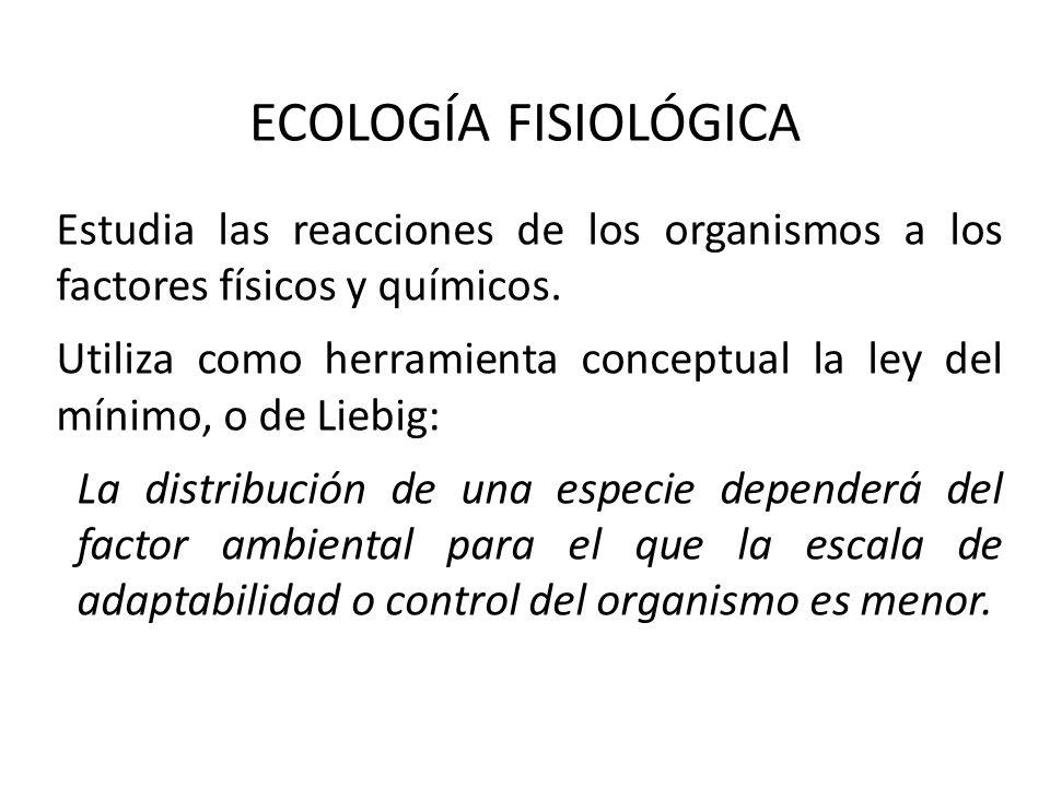 ECOLOGÍA FISIOLÓGICA Estudia las reacciones de los organismos a los factores físicos y químicos. Utiliza como herramienta conceptual la ley del mínimo