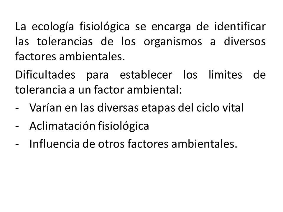 La ecología fisiológica se encarga de identificar las tolerancias de los organismos a diversos factores ambientales. Dificultades para establecer los