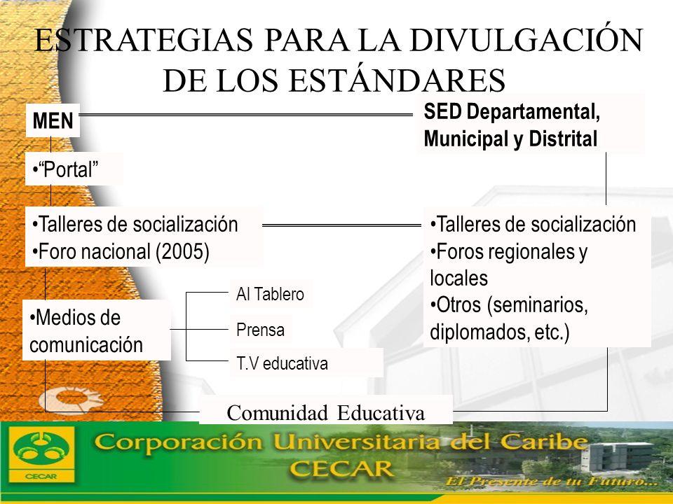 www.ceat.cl ESTRATEGIAS PARA LA DIVULGACIÓN DE LOS ESTÁNDARES MEN T.V educativa Portal Talleres de socialización Foro nacional (2005) Medios de comuni
