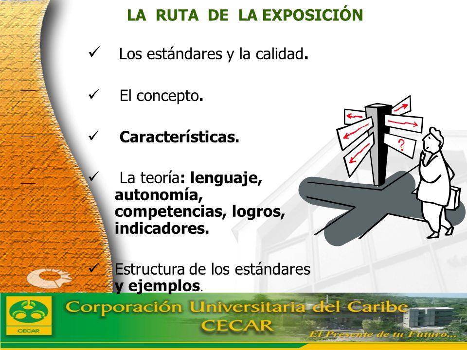 www.ceat.cl LA RUTA DE LA EXPOSICIÓN Los estándares y la calidad. El concepto. Características. La teoría: lenguaje, autonomía, competencias, logros,