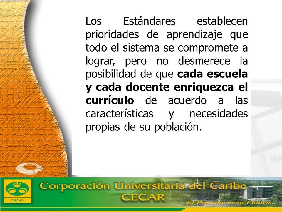 www.ceat.cl Los Estándares establecen prioridades de aprendizaje que todo el sistema se compromete a lograr, pero no desmerece la posibilidad de que c