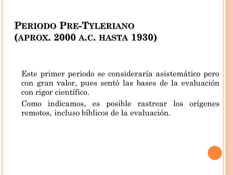P ERIODO P RE -T YLERIANO ( APROX. 2000 A. C. HASTA 1930) Este primer periodo se consideraría asistemático pero con gran valor, pues sentó las bases d
