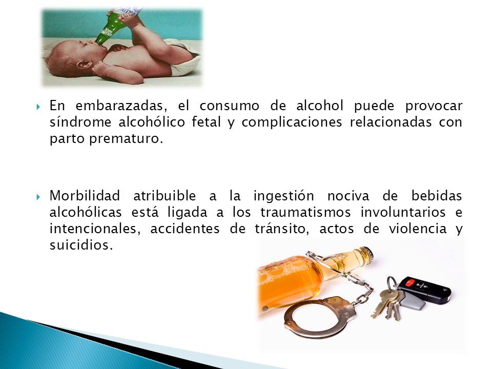 En embarazadas, el consumo de alcohol puede provocar síndrome alcohólico fetal y complicaciones relacionadas con parto prematuro. Morbilidad atribuibl