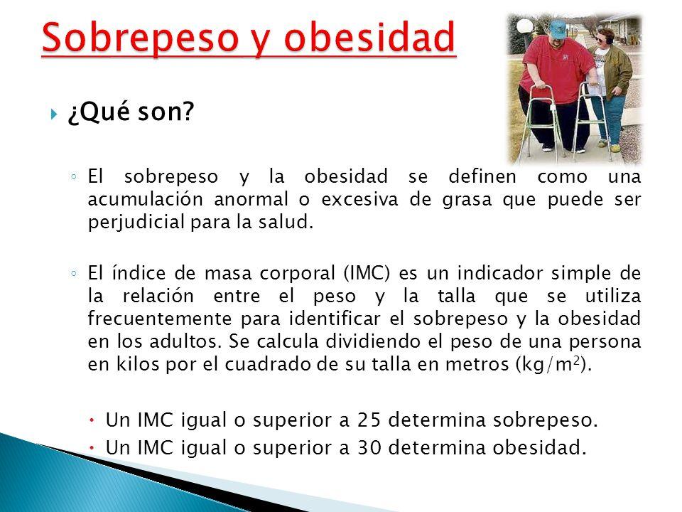 ¿Qué son? El sobrepeso y la obesidad se definen como una acumulación anormal o excesiva de grasa que puede ser perjudicial para la salud. El índice de