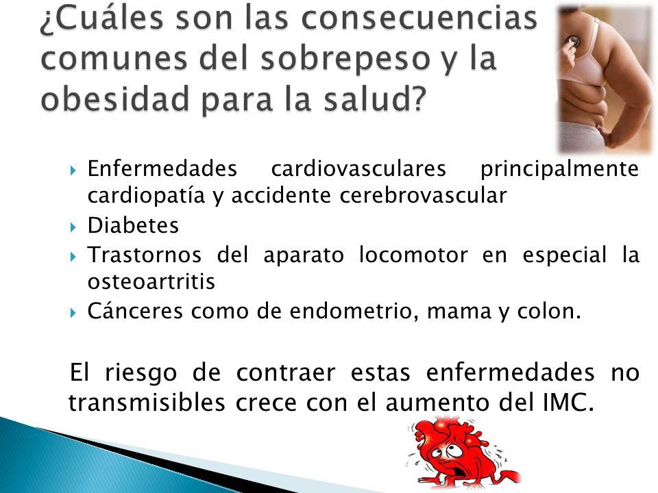Enfermedades cardiovasculares principalmente cardiopatía y accidente cerebrovascular Diabetes Trastornos del aparato locomotor en especial la osteoart