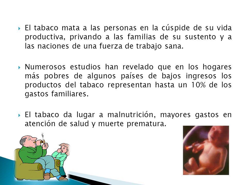 Las estrategias más eficaces en relación con los costos son las políticas públicas dirigidas a la población en general: Prohibiciones de la publicidad directa e indirecta del tabaco Aumentos de impuestos y precios de productos de tabaco Creación de espacios sin humo en todos los lugares públicos y lugares de trabajo Mensajes de advertencia bien visibles y claros en los paquetes de tabaco.