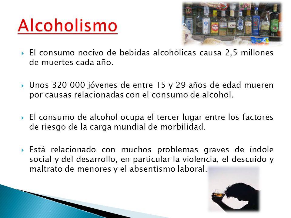 El consumo nocivo de bebidas alcohólicas causa 2,5 millones de muertes cada año. Unos 320 000 jóvenes de entre 15 y 29 años de edad mueren por causas