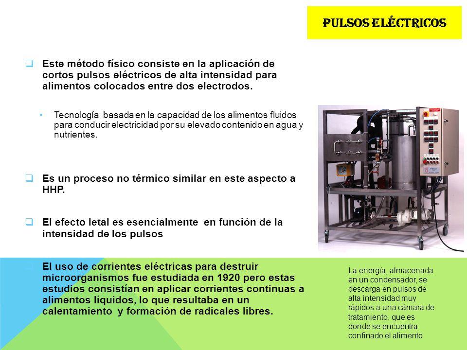 Este método físico consiste en la aplicación de cortos pulsos eléctricos de alta intensidad para alimentos colocados entre dos electrodos. Tecnología