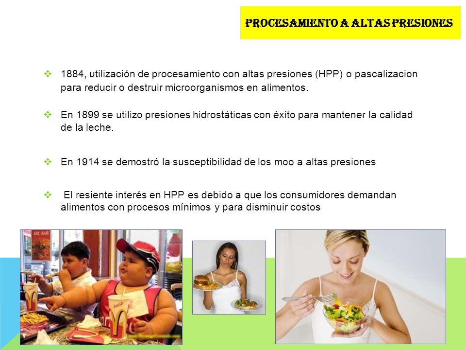 1884, utilización de procesamiento con altas presiones (HPP) o pascalizacion para reducir o destruir microorganismos en alimentos. En 1899 se utilizo