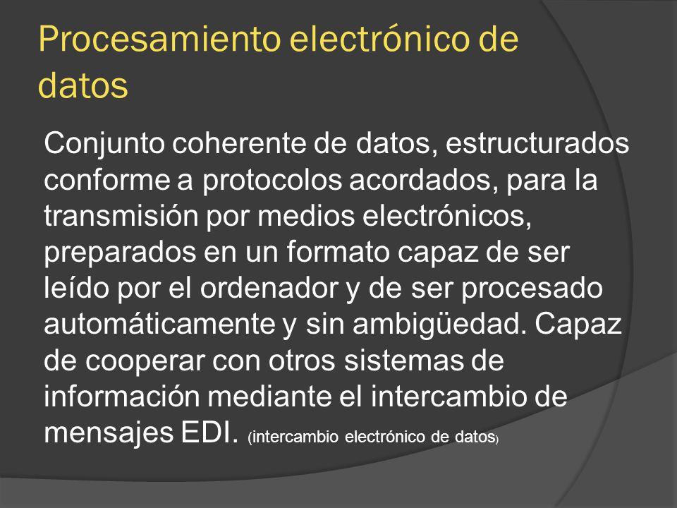 Conjunto coherente de datos, estructurados conforme a protocolos acordados, para la transmisión por medios electrónicos, preparados en un formato capa
