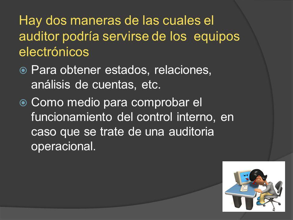 Hay dos maneras de las cuales el auditor podría servirse de los equipos electrónicos Para obtener estados, relaciones, análisis de cuentas, etc. Como