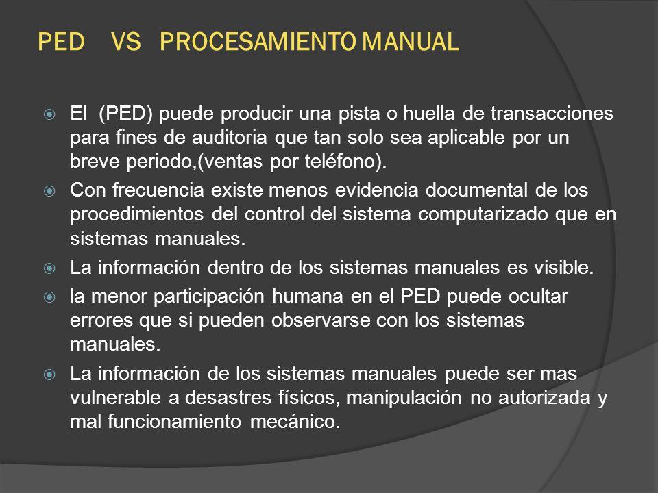 PED VS PROCESAMIENTO MANUAL El (PED) puede producir una pista o huella de transacciones para fines de auditoria que tan solo sea aplicable por un brev