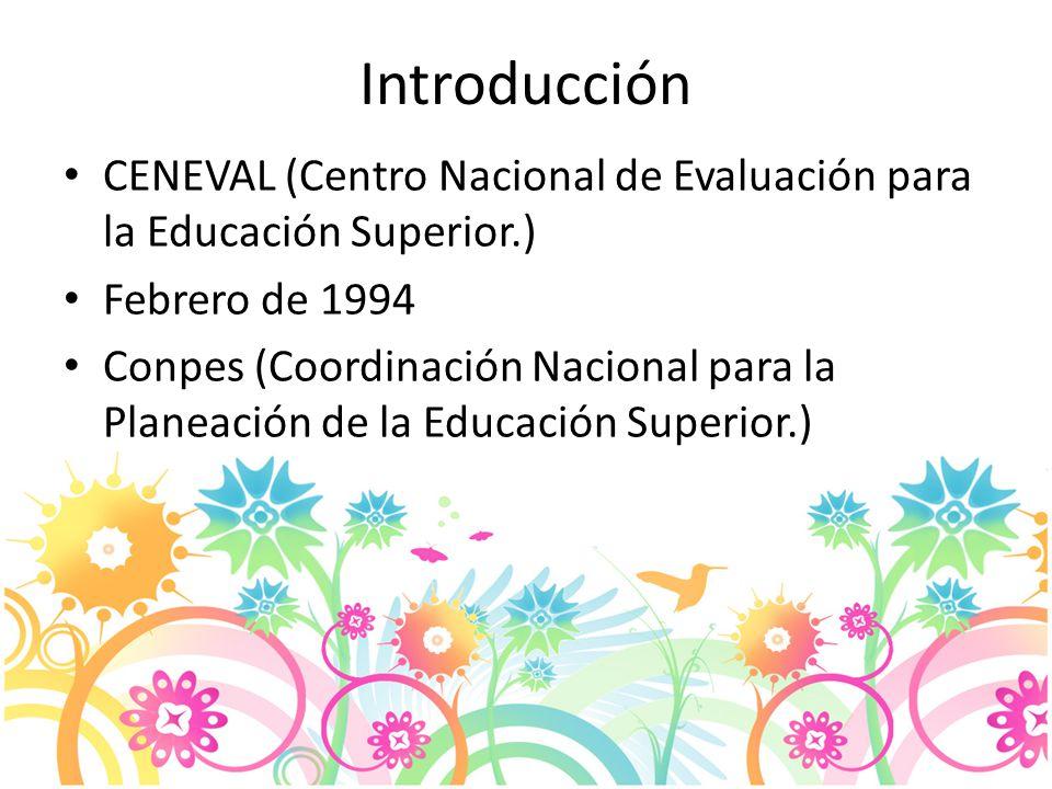 Introducción CENEVAL (Centro Nacional de Evaluación para la Educación Superior.) Febrero de 1994 Conpes (Coordinación Nacional para la Planeación de la Educación Superior.)