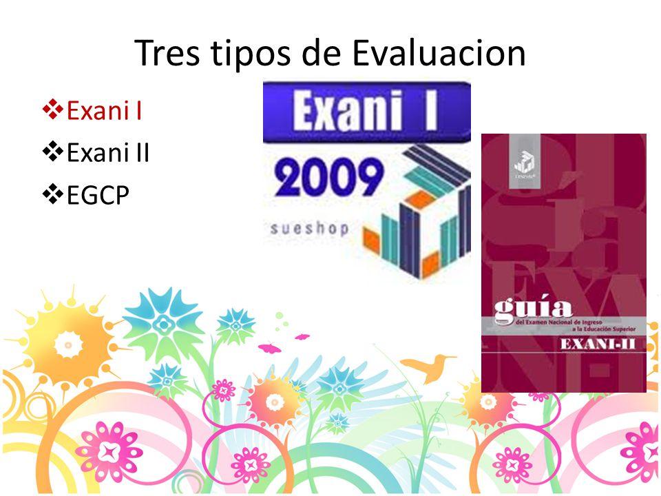 Tres tipos de Evaluacion Exani I Exani II EGCP