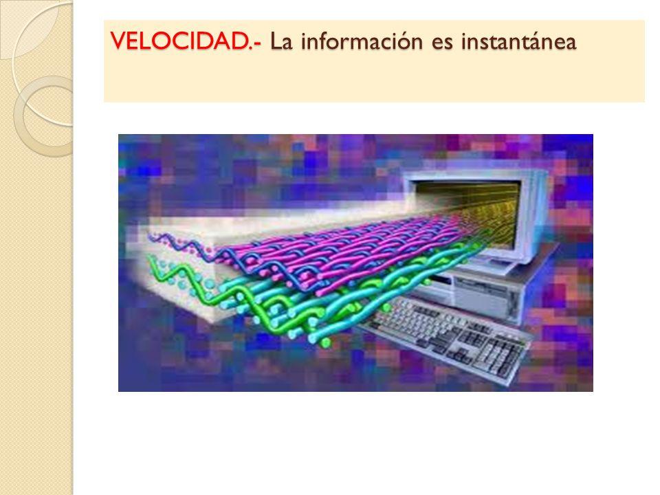VELOCIDAD.- La información es instantánea