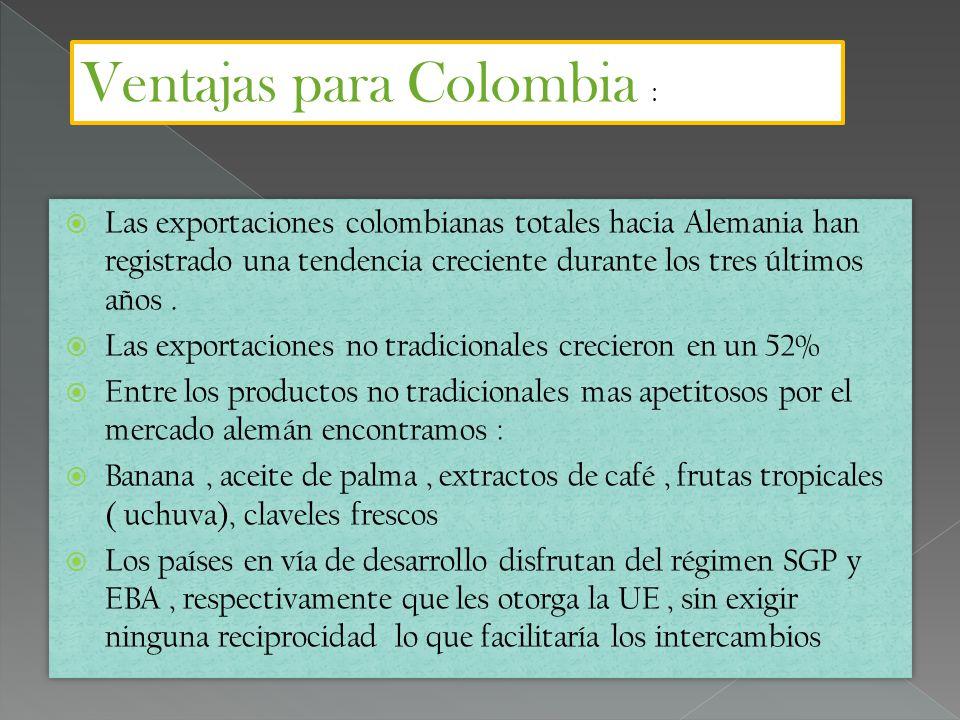 La comisión Europea aprobó el 21 de diciembre del 2005 la decisión que contiene la lista de países beneficiarios, Colombia fue incluido por haber presentado en orden todos los documentos que la acreditan cumplir los requisitos, el desarrollo sostenible y la gobernanza (SGP +) En efecto Colombia ha ratificado y aplica todas las convecciones unidas, los convenios sobre el medio ambiente entre otras de gran importancia El régimen de preferencias incluye 6600 productos diferentes La comisión Europea aprobó el 21 de diciembre del 2005 la decisión que contiene la lista de países beneficiarios, Colombia fue incluido por haber presentado en orden todos los documentos que la acreditan cumplir los requisitos, el desarrollo sostenible y la gobernanza (SGP +) En efecto Colombia ha ratificado y aplica todas las convecciones unidas, los convenios sobre el medio ambiente entre otras de gran importancia El régimen de preferencias incluye 6600 productos diferentes