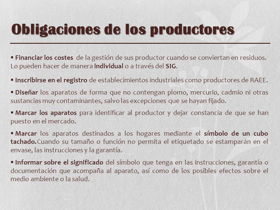 Obligaciones de los productores Financiar los costes de la gestión de sus productor cuando se conviertan en residuos. Lo pueden hacer de manera indivi