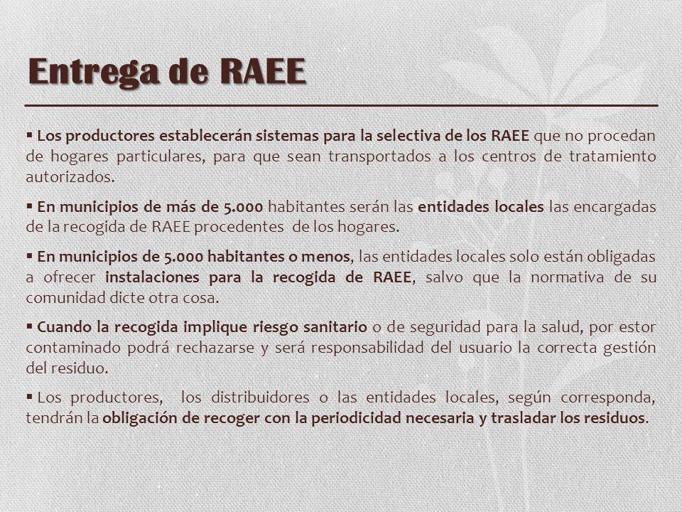 Entrega de RAEE Los productores establecerán sistemas para la selectiva de los RAEE que no procedan de hogares particulares, para que sean transportad