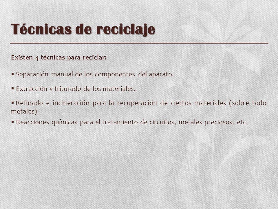 Técnicas de reciclaje Existen 4 técnicas para reciclar: Separación manual de los componentes del aparato. Extracción y triturado de los materiales. Re