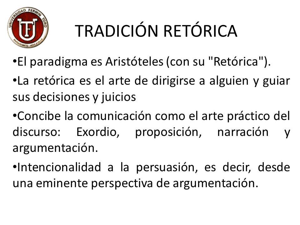 TRADICIÓN RETÓRICA El paradigma es Aristóteles (con su Retórica ).