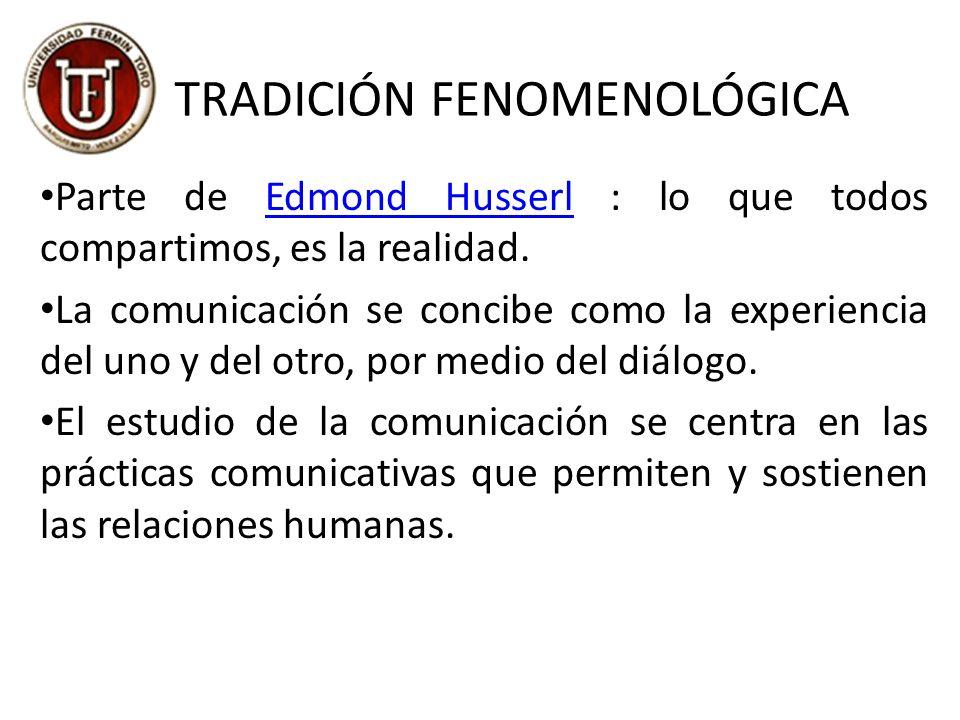 TRADICIÓN FENOMENOLÓGICA Parte de Edmond Husserl : lo que todos compartimos, es la realidad.Edmond Husserl La comunicación se concibe como la experiencia del uno y del otro, por medio del diálogo.