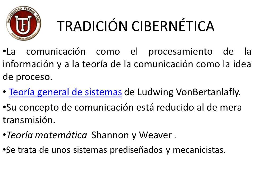TRADICIÓN CIBERNÉTICA La comunicación como el procesamiento de la información y a la teoría de la comunicación como la idea de proceso.
