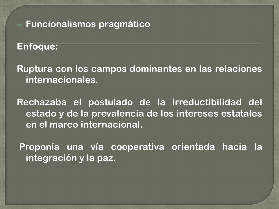 Funcionalismos pragmático Enfoque: Ruptura con los campos dominantes en las relaciones internacionales.