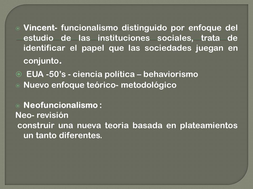 Vincent- funcionalismo distinguido por enfoque del estudio de las instituciones sociales, trata de identificar el papel que las sociedades juegan en conjunto.