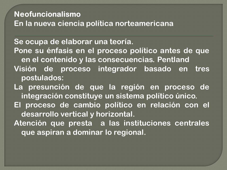 Neofuncionalismo En la nueva ciencia política norteamericana Se ocupa de elaborar una teoría.