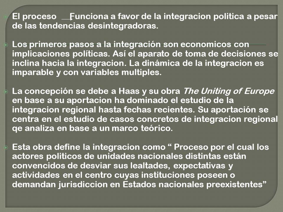 El proceso Funciona a favor de la integracion politica a pesar de las tendencias desintegradoras.