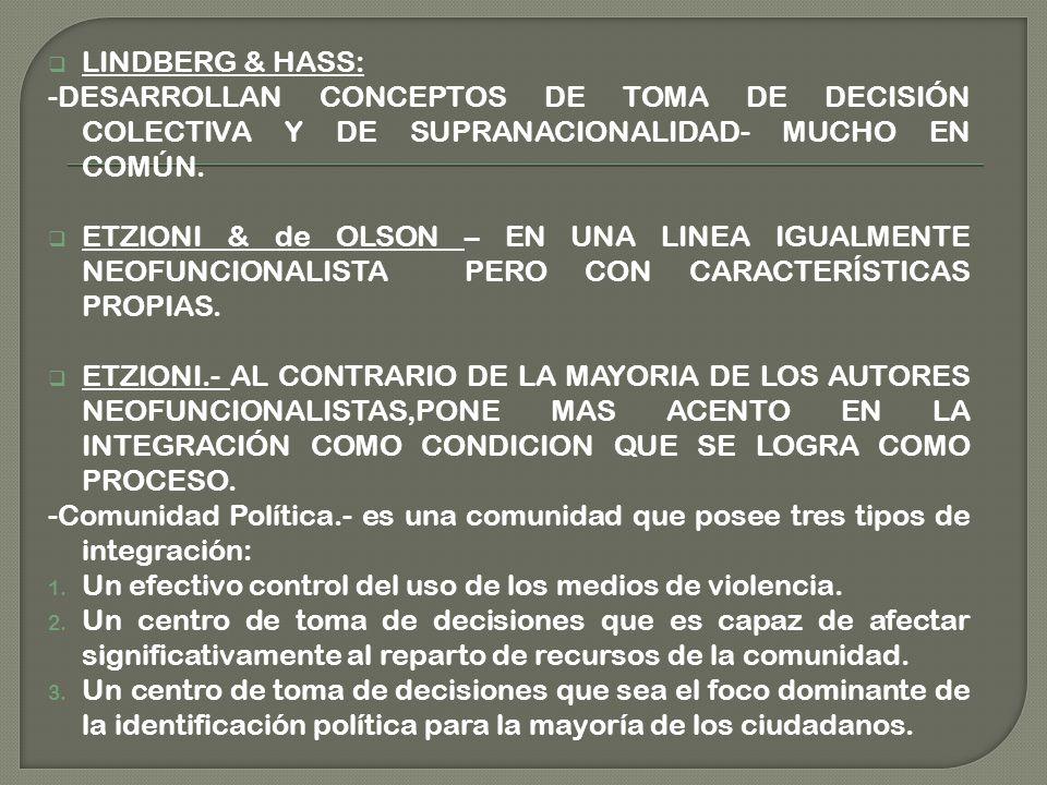 LINDBERG & HASS: -DESARROLLAN CONCEPTOS DE TOMA DE DECISIÓN COLECTIVA Y DE SUPRANACIONALIDAD- MUCHO EN COMÚN.