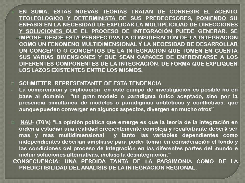 EN SUMA, ESTAS NUEVAS TEORIAS TRATAN DE CORREGIR EL ACENTO TEOLEOLOGICO Y DETERMINISTA DE SUS PREDECESORES, PONIENDO SU ENFASIS EN LA NECESIDAD DE EXPLICAR LA MULTIPLICIDAD DE DIRECCIONES Y SOLUCIONES QUE EL PROCESO DE INTEGRACIÓN PUEDE GENERAR.