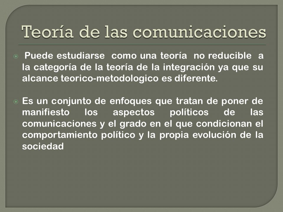 Puede estudiarse como una teoría no reducible a la categoría de la teoría de la integración ya que su alcance teorico-metodologico es diferente.